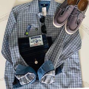 Egara Striped Slim Button Down Shirt Mens L NWT